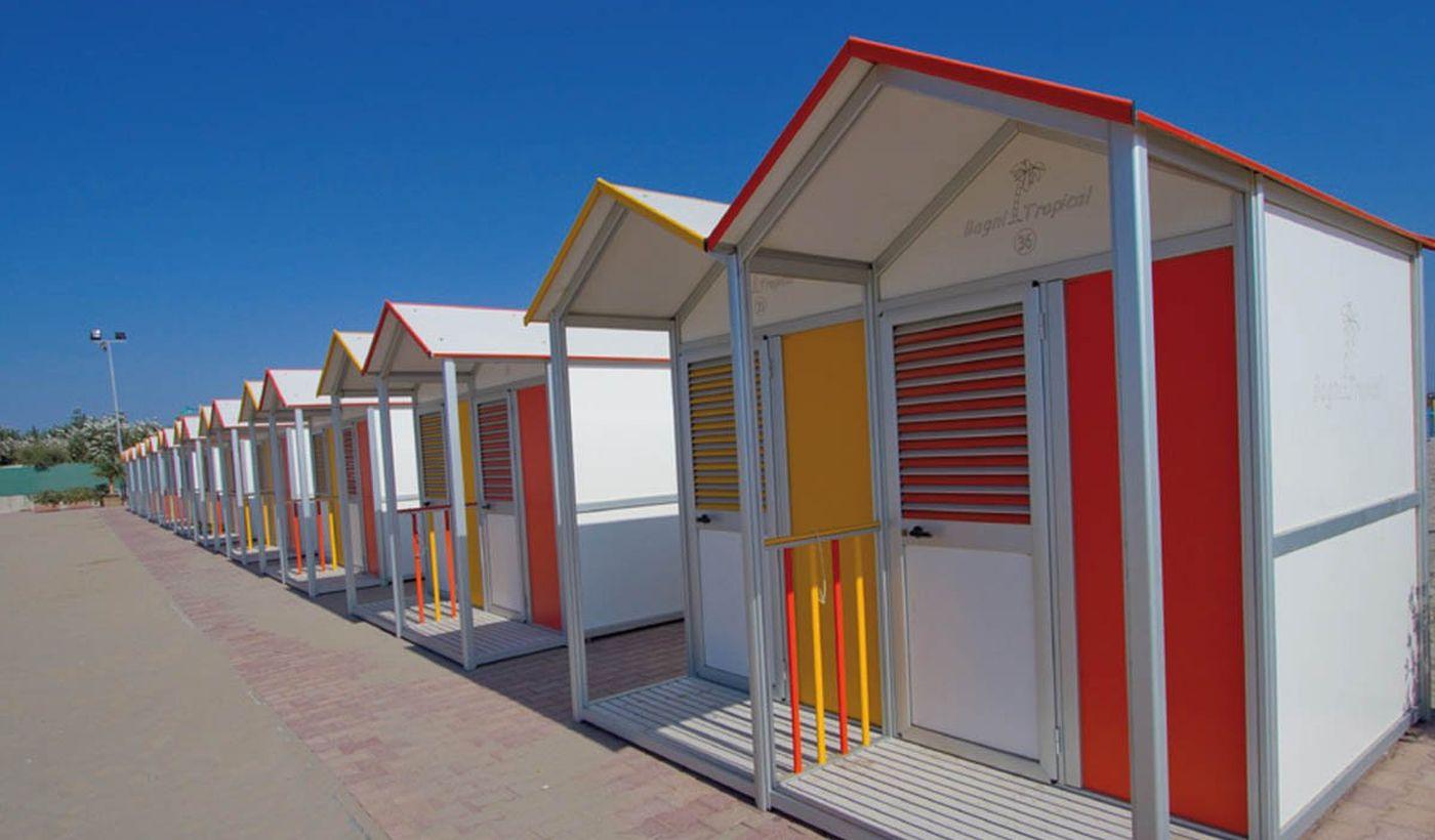 Die Kabinen auf dem Strand