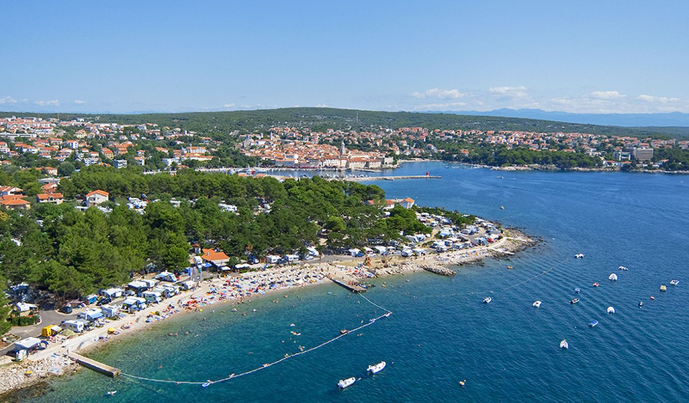 Panoramica del campeggio sull'Isola di Krk in Croazia