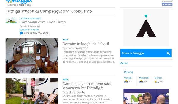 La sezione di Campeggi.com sul portale SiViaggia.
