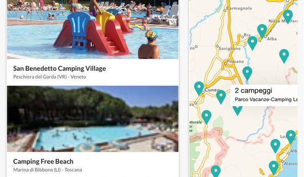 Applicazione Campings per smartphone e tablet