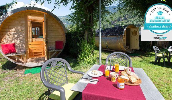 Camping Steiner di Laives (BZ) con le botti in legno abitabili